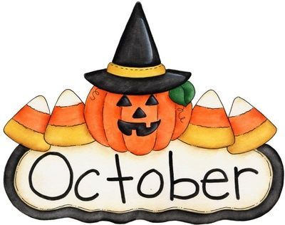 word october with image of candy corn and jack-o-lantern with a witch's hat